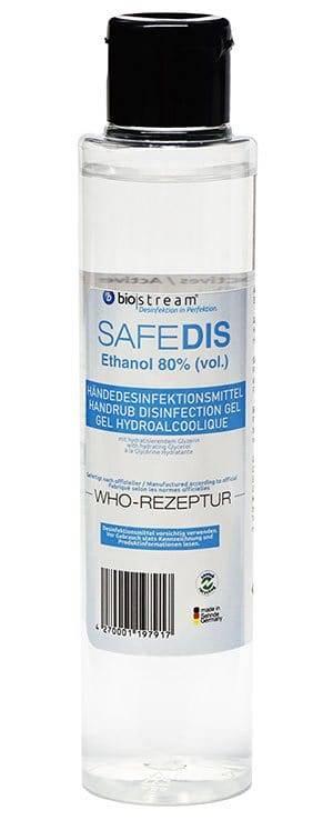 150 Milliliter Händedesinfektionsmittel effektiver Wirkstoff gegen Viren und Keime: biostream® SAFEDIS mit Flip-Top-Verschluss.